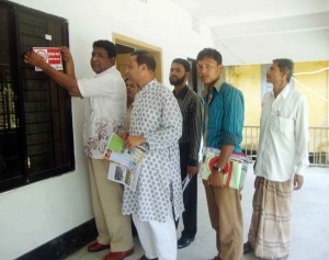 Sticker distribution by Upazila Parishad