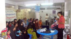 Orientation for factory worker at Vertex Apparels