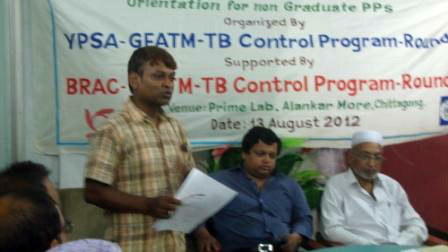 Mr. Sanjoy from, BRAC TB control program is delivering his speech in orientation program for Non Graduate Private Practitioner at popular lab