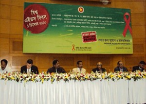 """Prof. Dr. A.F.M. Ruhal Haque, MP, Hon'ble Minister, Ministry of Health and Family Welfare attended Seminar on """"World Aids Day10 at Bangabandhu International Conference Center at Dhaka.YPSA at presents this Seminar."""