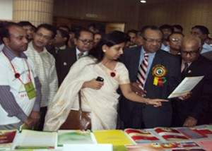 """Prof.Dr.A.F.M. Ruhal Haque, MP, Hon'ble Minister, Ministry of Health and Family Welfare have visited Stall on """"World Aids Day10 at Bangabandhu International Conference Center at Dhaka."""