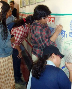 American and Bangladeshi students in a Signature campaign