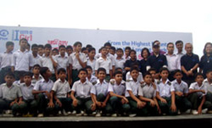 School students with NISHAJ at Cox's Bazar beach