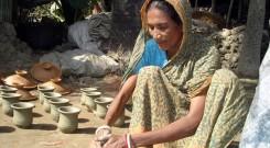 Woman making handicraft