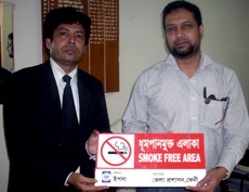 YPSA handed over No Smoking Signage to the ADC of Feni
