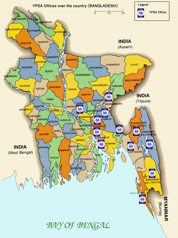 YPSA offices in Bangladesh Map