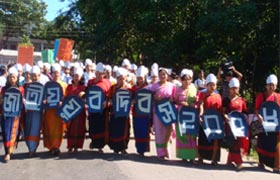 Tribal people participated in the Rally at Rangamati