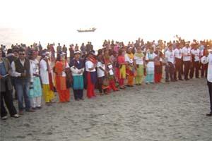 Candle light vigil on the beach of Cox's Bazar