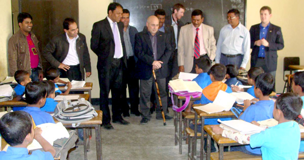 USA delegation team with Mr.Abdullah Al Baker Bhuyan , Chairman of Sitakund Upazila Parishad in a School