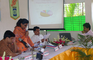 Ms.Yasmin Akter Jugnu , Finance Secretary presented organizational finance report (09-10) and Yearly budget (10-11)