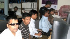 Visual impaired persons receive training at Dhaka University