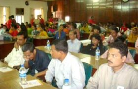 Audience in a discussion meeting