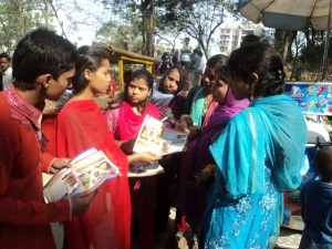 Volunteer distributed promotional materials to the public