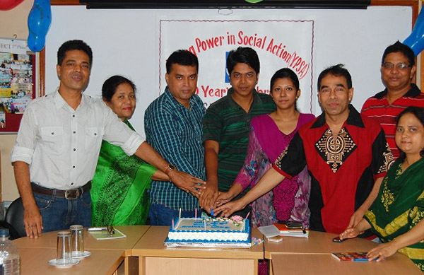 The program was inaugurated cutting an anniversary cake at YPSA Head Office, Chittagong.