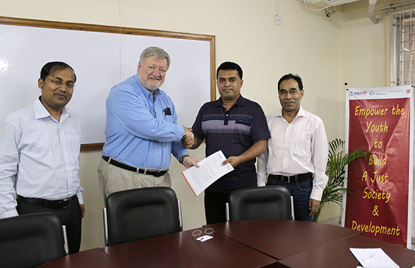 Official Award letter was signed between Mr.Steven LaVake , Chief of Party , COUNTERPART International Bangladesh and Md. Arifur Rahman , Chief Executive of YPSA