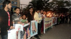 candle light vigil place in front of Shadinata Park, Chittagong