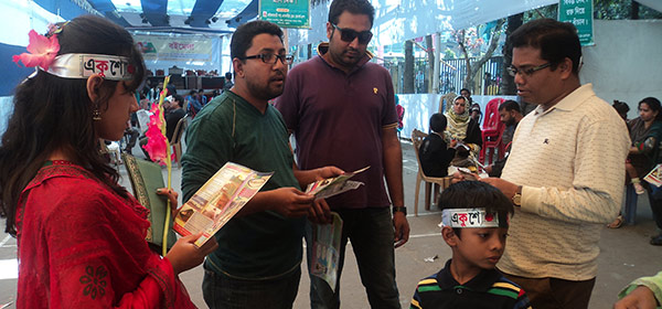 Volunteers distributed stickers, handbills and other promotional materials