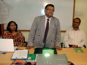 Dr. Md. Alauddin Mazumdar, Director of Department of Health addressing in the workshop