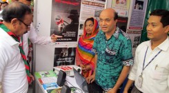 Minister of Primary and Mass Education Bangladesh visiting YPSA stall at the education fair