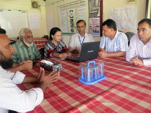 Visitor in a meeting at the Radio Sagor Giri Office