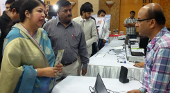 Mr. Ahsanullah Sarkar, Associate Program Officer of YPSA has demonstrated Digital Talking Books (DAISY) in front of Dr Shirin Sharmin Chowdhury, Honorable Speaker of National Parliament