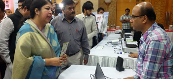 Demonstration of Digital Talking Books in front of speaker of national parliament