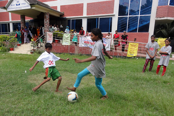 Sponsored children playing Football