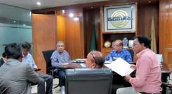 Dr. Abu Jamil Faisel meets BGMEA First Vice President Nasiruddin Ahmed.