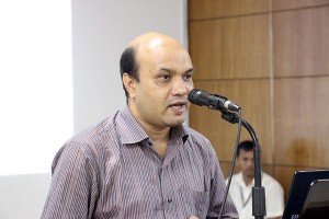 Mr. Vashkar Bhattacharjee addressing in the seminar