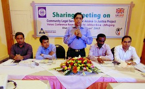 Mr. Mesba Uddin, Deputy Commissioner of Chittagong addressing in the meeting