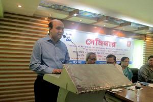 Vashkar Bhattacharjee, Program Manager of YPSA is giving welcome speech in the seminar