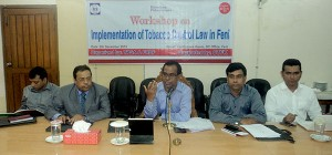 Workshop on Implementation of Tobacco Control Law held with government officials in Feni organized by YPSA