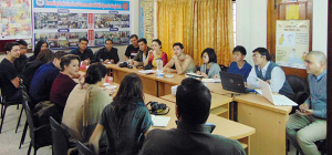 The team attend a meeting at YPSA Head office