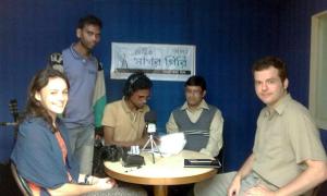 The team attend Radio talk show