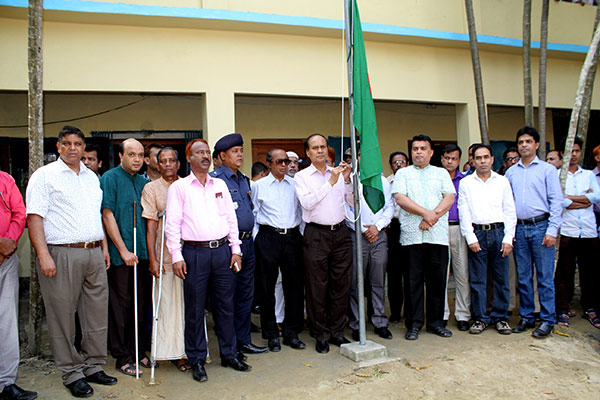 Raising national flag by PKSF director