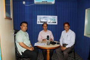 Managing Director and Deputy Managing Director of PKSF with Chief Executive of YPSA at the Radio Sagor Giri FM 99.2 studio