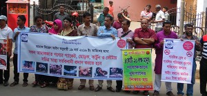 Human chain formed demanding to insert pictorial warning signs on tobacco products 3