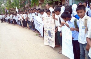 Human chain to end violence against woman
