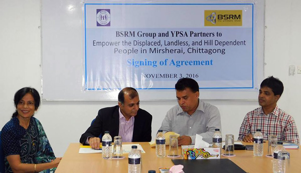 The agreement was signed by Mr. Aameir Alihussain, Managing Director of BSRM Group and Md.Arifur Rahman, Chief Executive of YPSA.