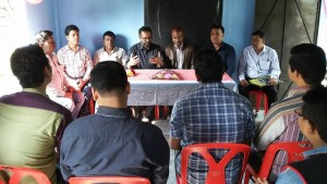 Meeting with group members.