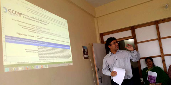 Prabal Barua, M&E Officer gives a presentation
