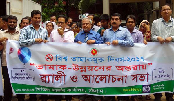 Rally on World No Tobacco Day 2017 at Chittagong