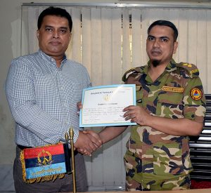 Md. Arifur Rahman, Chief Executive of YPSA has receives Cadetship Certificate