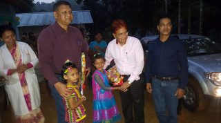 Dr. Md. Jashim Uddin, Deputy Managing Director at PKSF; Md. Mashiar Rahman General Manager with children in Kawkhali while they visit YPSA