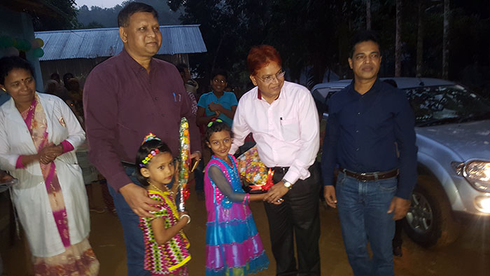 Dr. Md. Jashim Uddin, Deputy Managing Director at PKSF; Md. Mashiar Rahman General Manager with children in Kawkhali while they visit YPSA