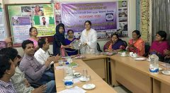 Shamsunnahar Chowdhury Lopa, member of the general council of YPSA handover the prize to a girl