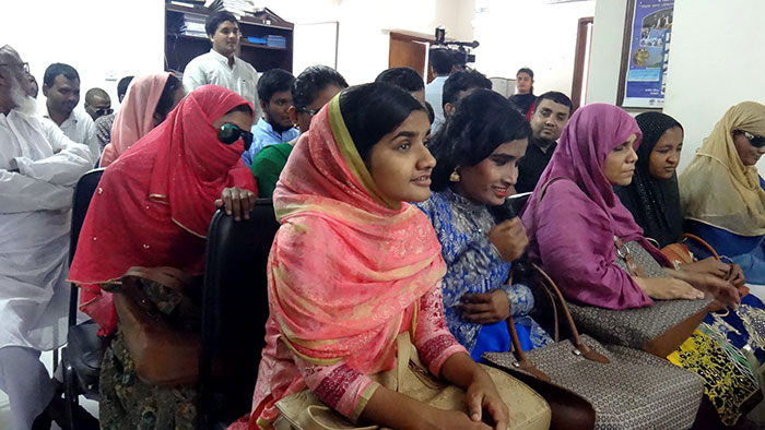 Visually challenged students at the function