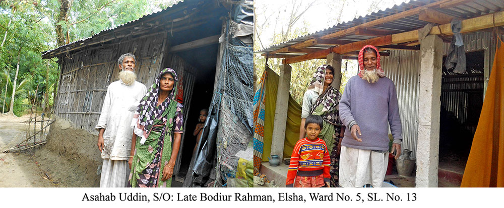 Ashab-Uddin in front of new and old house