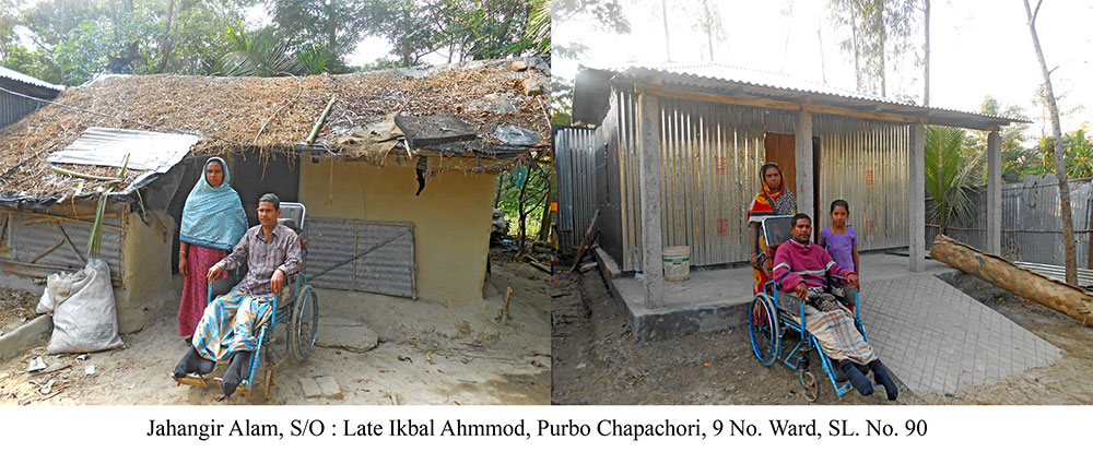 Physically challenged Jahangir Alam in front of old and new house