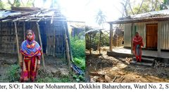 Koli Akhter in front of her old and new house